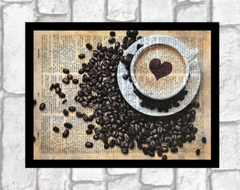 I LOVE COFFEE Heart Art Print ~ I Love Caffeine Color Print Art ~ Hand Colored Print art on 8x10 upcycled dictionary page