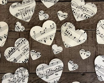 700 music page heart confettilarge small paper heartsvintage music note paper for wedding invitationstable scatterbridal shower decor
