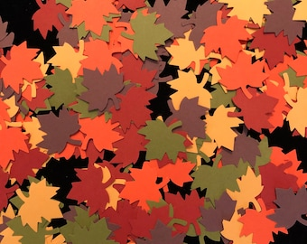 60 Pcs Maple Leaf Confetti ~ Fall Themed Confetti ~ Fall Wedding Decor ~ Thanksgiving Table Scatter ~ Autumn Maple Leaf Die Cuts
