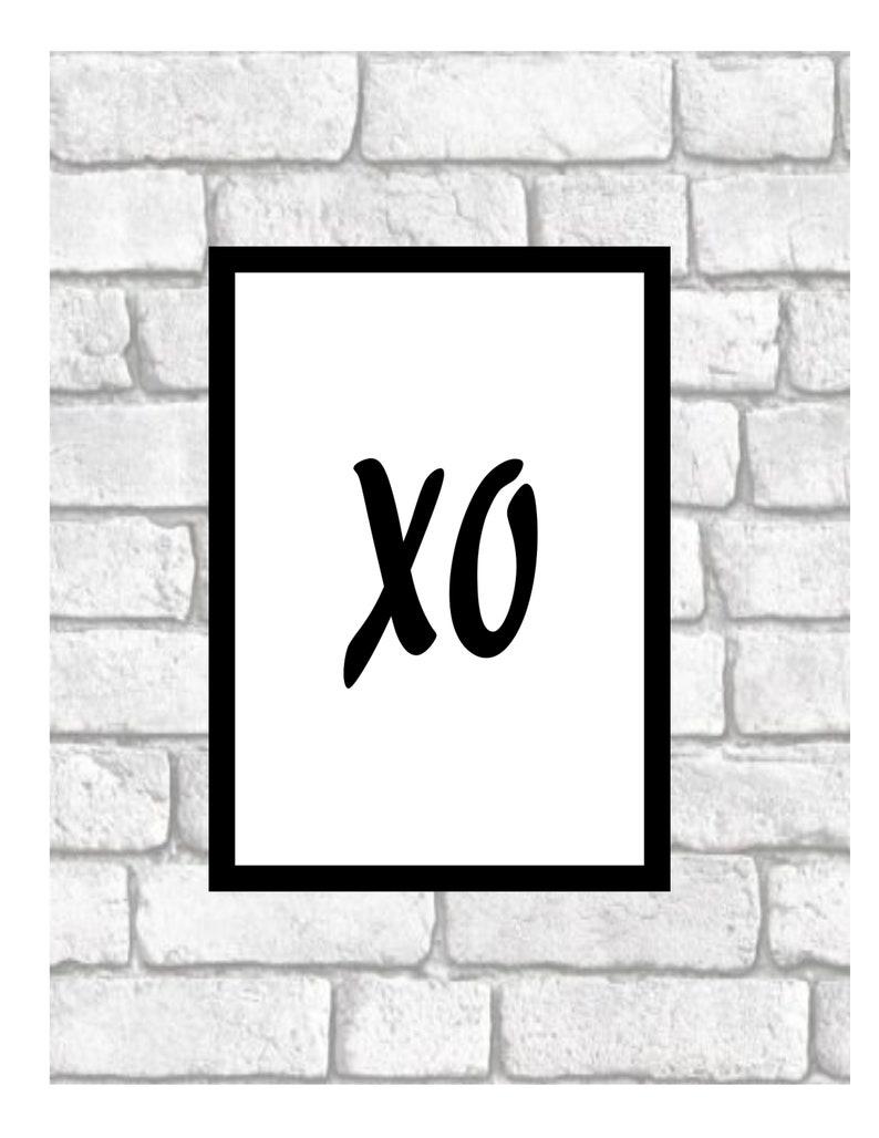 Xo wall art hugs kisses xoxo black and white print art xo typography romantic gift minimalist poster 8x10 custom art print