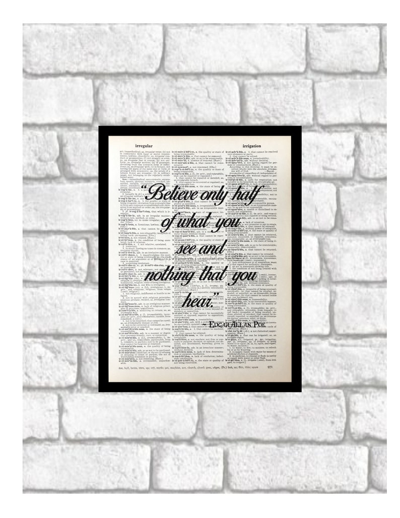 Edgar Allan Poe Inspirational Quotes Dictionary Page Art Print Etsy