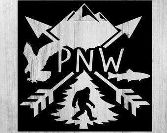 Car Decal Woods Bigfoot PNW dxf Mountains Hiking Washington Oregon Outside svg Pacific Northwest Eagle Idaho png Fishing