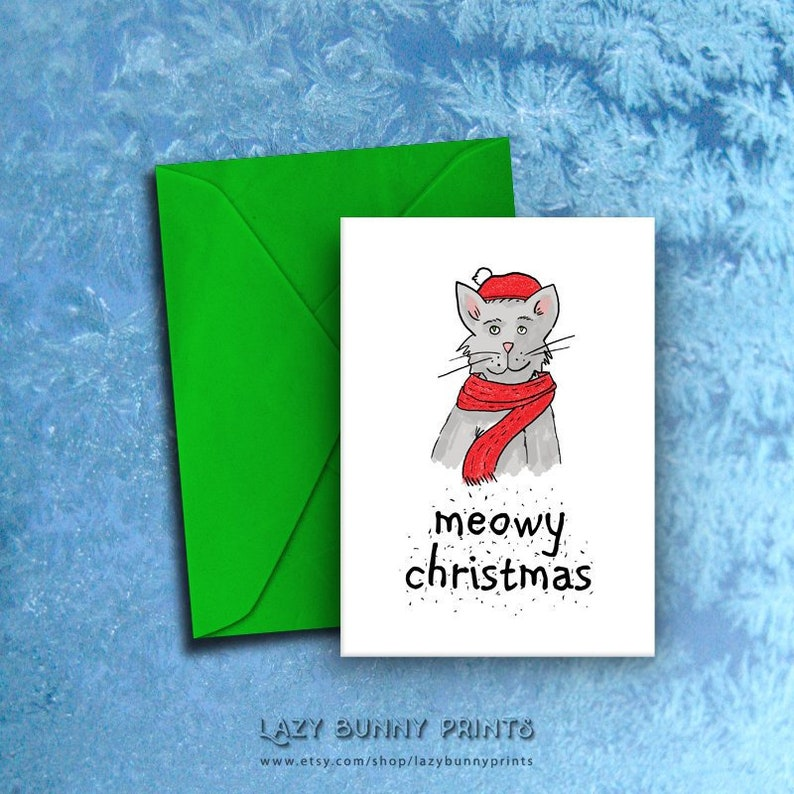 image regarding Funny Printable Christmas Cards referred to as Printable Xmas Card With Humorous Pun, Whimsical Cat Example, Dog Vacations, 5\