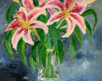 Lilies oil painting; original flowers artwork, floral wall art, still life, pink, purple grey decoration, gift