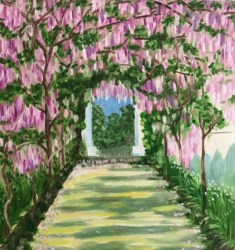 Oil Floral Painting Of Wisteria Tunnel Original Landscape Etsy