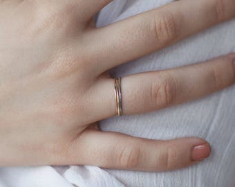 The fine trio - guitar string - Guitar string jewelry - musician - music - minimalist - stackable ring - gift for her ring