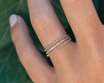 Wanderer - ring guitar string - Guitar string jewelry - musician-minimalist - stackable ring - braided ring - gift for her