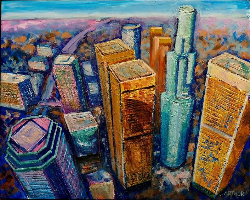Los Angeles Aerial View Urban Fine Art Original Textured image 0