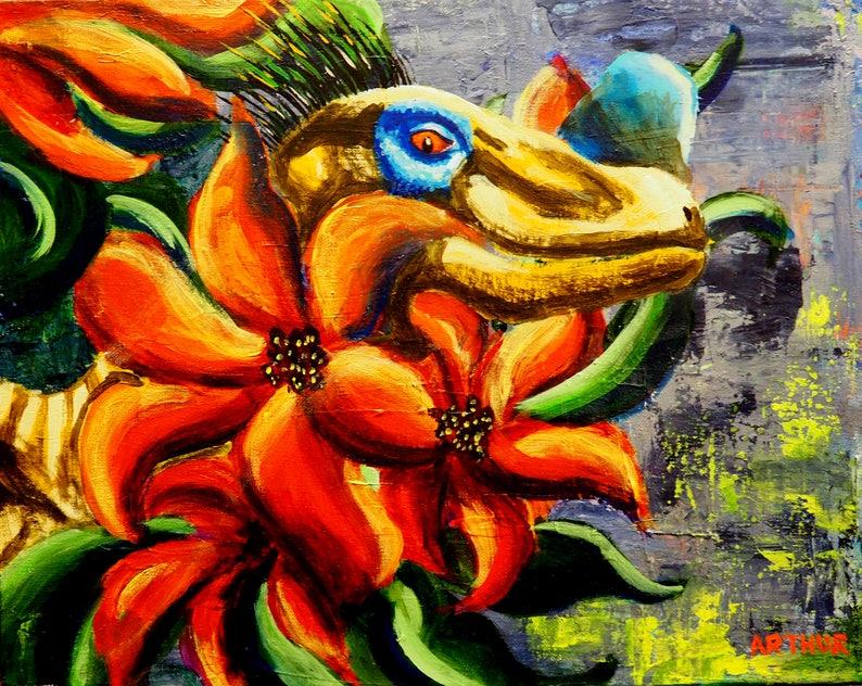 Dinosaur Wall Art Dinosaur Artwork Original Acrylic image 0