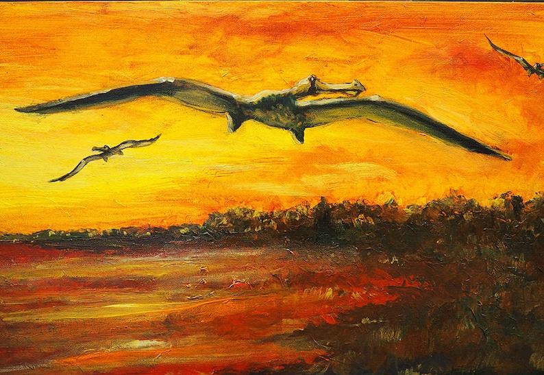 Dinosaur Wall Art Acrylic Painting Pterasaurs at image 0