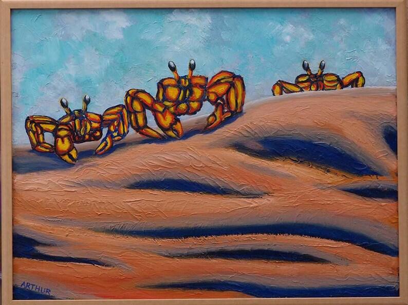 Modern Fine Art Oil on Board Sand Dunes Painting Sand Crabs image 0