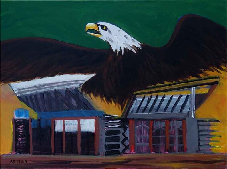 Eagle Painting Acrylic Bird Art Wildlife Art Football Art image 0