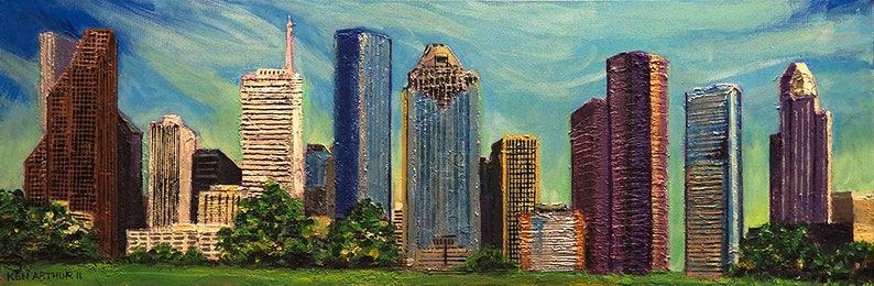 Houston Texas Skyline Fine Art Painting Houston Downtown image 0