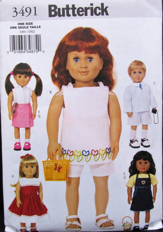 "BUTTERICK PATTERN 18/"" DOLL CLOTHES MAKES 6 OUTFITS # B5589"
