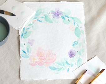 Custom Watercolor Floral Wreath with Name / Limited Edition 8x10/ Peony/ Hand painted in Pink - Purple - Teal