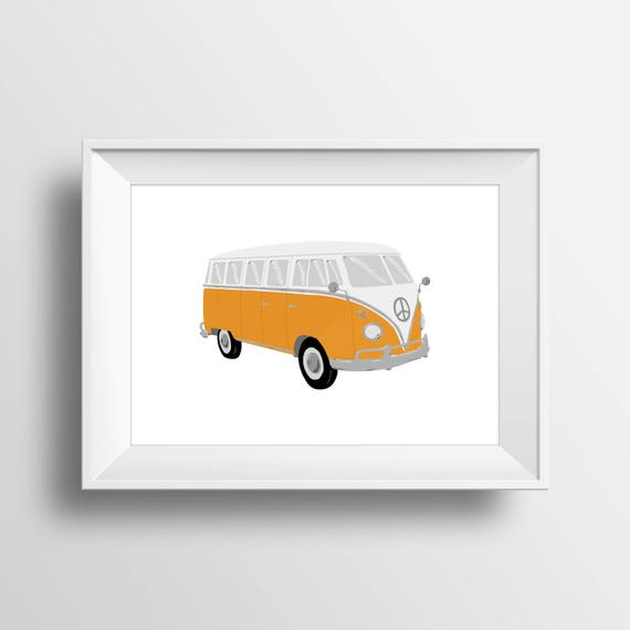 Volkswagen Bus Wall Art Vw Bus Drawing Digital Download Etsy