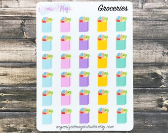 grocery planner stickers, grocery shopping stickers, shopping stickers