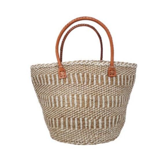 Market basket with handles, Handwoven African handbag, african sisal bag, woven basket purse, Handmade Handbag, Sisal woven bag