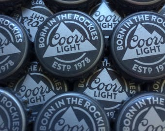 100 Lot COORS LIGHT Beer Bottle Caps Crowns~No Dents! Clean! Born In The Rockies