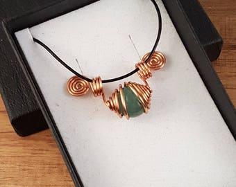 Fancy jasper copper spiral pendant necklaces - 10mm stones