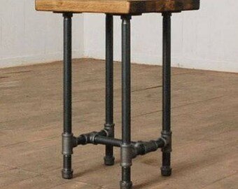 Rustic wood and pipe bar stool (counter or bar height)