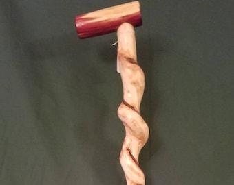 Beach wood cane with cedar heart handle