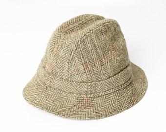 bd33f25804d Mens Harrods Of London Hat Wool 6 7 8 Herringbone Tweed Packable Hat Gillie