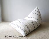 Gray Triangle Mudcloth Boho Lounger - quot La Femme d 39 Argent quot