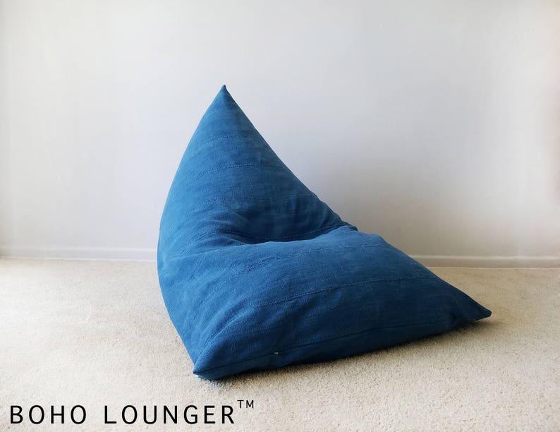 Blue Indigo Vintage Mudcloth Boho Lounger\u00ae