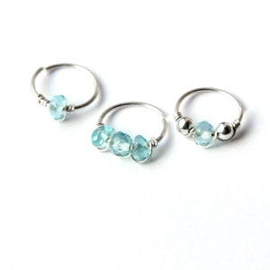 Silver Nose Ring 22g 20g 18g 16g Simple Thin Nose Ring Plain Nose Ring Thin Hoop Continuous Ring