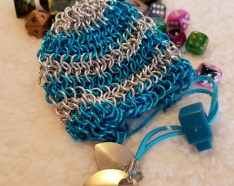 Handmade Silicon and Aluminum Chainmail Dice Bags As Seen at GDQX