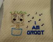 I Am Groot Embroidered Hand Towel