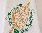 Legend of Zelda Hylian Shield With Master Sword, Gold Metallic  Embroidered Hand Towel