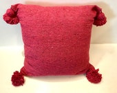 Set of 2 pink Moroccan Pom Pom pillows 100 cotton