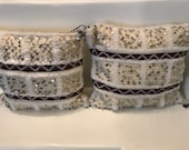 Set of 2 Moroccan down filled pillows, Moroccan wedding blanket, off white