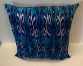 Set of 2 blue down filled Ikat silk pillows from Uzbekistan