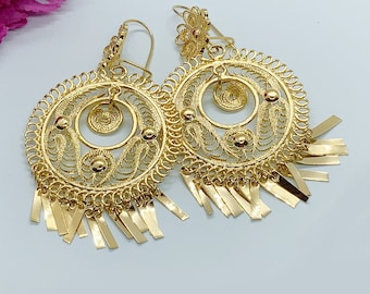 frida Khalo style Gold vermeil filigree Mexican triangle  drop Purple stone earrings from Oaxaca Mexico special occasion bohemian