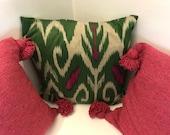 Set of 2 green down filled Ikat silk pillows from Uzbekistan