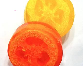 Loofah Soap, Orange Soap, Cranberry Soap, Summer Soap, Exfoliating Soap, Natural Loofah, Citrus Soap, Glycerin Soap, Orange Loofa Soap