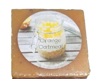 Orange and Oatmeal Naturally Sweet and Exfoliating Face and Body Bar made using Cold Process