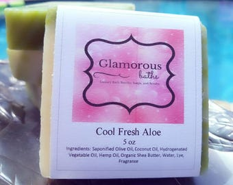 Cool Aloe Clean and Fresh Green and White Cold Process Soap with Fresh Scent for Men