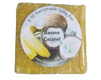 Banana Coconut Sea Salt Naturally Exfoliating Face and Body Bar