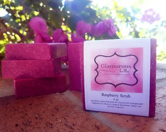 5 oz Raspberry Homemade Soap, SLS Free, Lathering Soap, Fruity Soap, Pink Soap, No Animal Product, Cold Process Shea Butter, Bridesmaid Gift