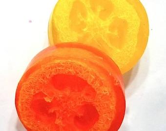 Loofah Soap, Orange Soap, Cranberry Soap, Summer Soap, Exfoliating Soap, Natural Loofah, Citrus Soap, Glycerin Soap, Orange Loofa Soap