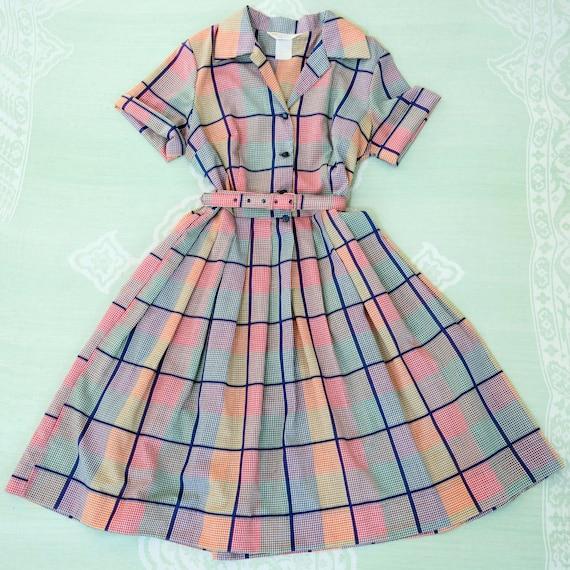 Vintage 1970s Dress 50s Style Shirtwaist Dress Cir