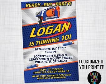 Dart Invitation Birthday Party Dart Wars Dart Invite Battle Orange Blue Silver Strongarm Gun Blaster Card - (Evite) Digital File Supplied