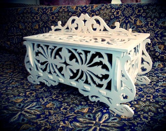 Wooden carved box - box vector drawing for CNC