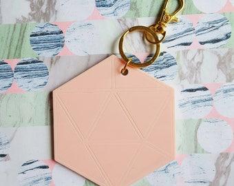 Blush Pink Hexagon laser-cut perspex bag charm