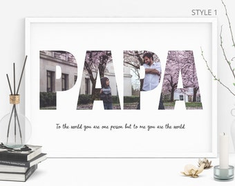 PAPA Photo Collage, Personalized  Photo Collage, Personalised Gift, Gifts For Dad, Birthday Gift for Him, Fathers Day Gift, Digital File