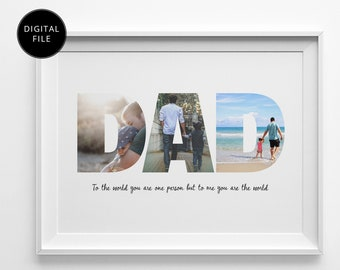 DAD Photo Collage, Birthday Gift for Dad, Father's Day Gift, Fathers Day, Father Gift, Gift For Dad, Christmas Gift For Dad, PRINTABLE FILE